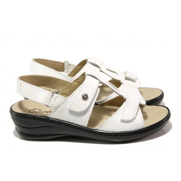 Анатомични български сандали от естествена кожа ГР 103005 бял | Равни дамски сандали | MES.BG