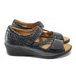 Дамски ортопедични обувки от естествена кожа-лак SOFTMODE 6954 т.сив | Дамски обувки на платформа | MES.BG
