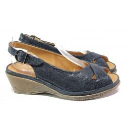 Дамски ортопедични сандали от естествена кожа SOFTMODE Calimera т.син | Дамски сандали на платформа | MES.BG