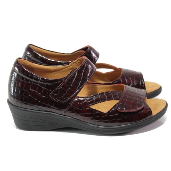 Дамски ортопедични обувки от естествена кожа-лак SOFTMODE 6954 бордо | Дамски обувки на платформа | MES.BG