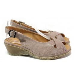 Дамски ортопедични сандали от естествена кожа SOFTMODE Calimera таупе | Дамски сандали на платформа | MES.BG