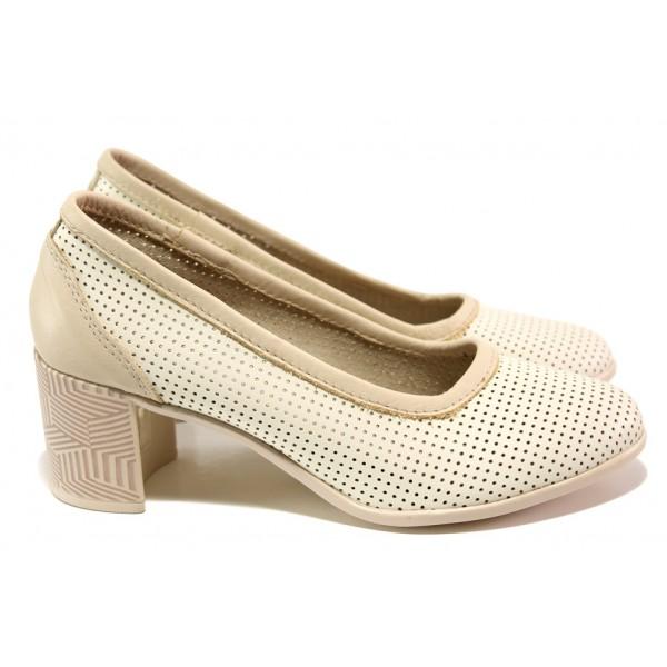 Анатомични български обувки от естествена кожа НЛ 286-527 сахара | Дамски обувки на среден ток | MES.BG