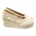 Анатомични български обувки от естествена кожа НЛ 303-96145 сахара | Дамски обувки на платформа | MES.BG
