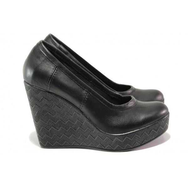 Анатомични български обувки от естествена кожа НЛ 299-96134 черен | Дамски обувки на платформа | MES.BG