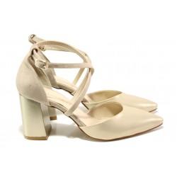 Елегантни дамски обувки с модерна визия МИ 548-1 бежов | Дамски обувки на висок ток | MES.BG