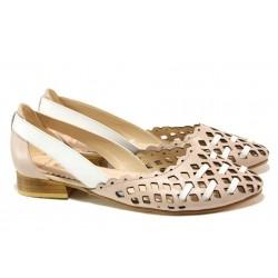 Комфортни дамски обувки от естествена кожа МИ 112-24 розов | Равни дамски обувки | MES.BG