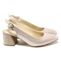 Елегантни дамски обувки на комфортно ходило МИ 798-5 розов | Дамски обувки на среден ток | MES.BG