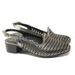 Комфортни дамски обувки от естествена кожа МИ 850-11 графит | Дамски обувки на среден ток | MES.BG