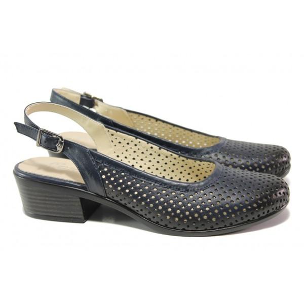 Комфортни дамски обувки от естествена кожа МИ 238-14 т.син | Дамски обувки на среден ток | MES.BG