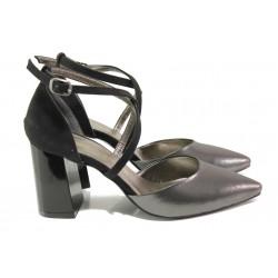 Елегантни дамски обувки с модерна визия МИ 548-6 графит | Дамски обувки на висок ток | MES.BG