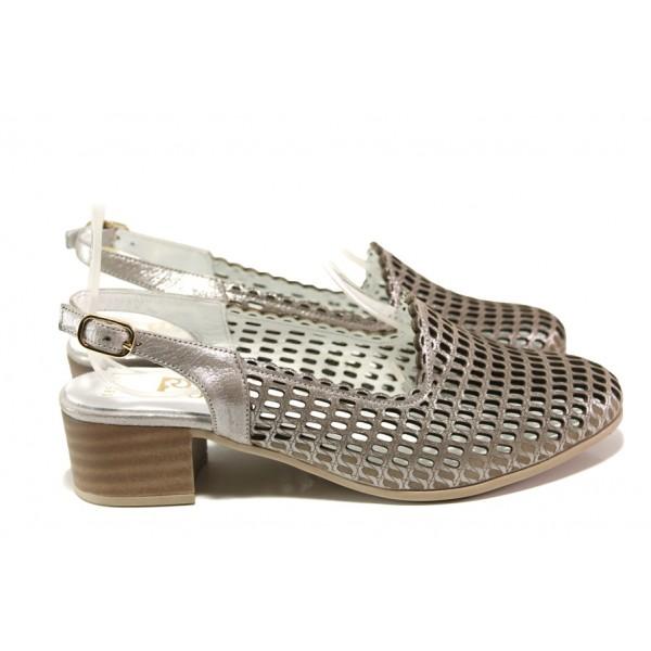 Комфортни дамски обувки от естествена кожа МИ 850-12  сив | Дамски обувки на среден ток | MES.BG