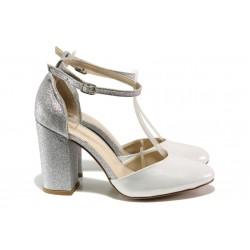 Елегантни дамски обувки с модерна визия МИ 596-8 сребро | Дамски сандали на висок ток | MES.BG