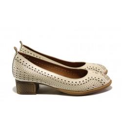 Комфортни дамски обувки от естествена кожа МИ 106-30 бежов | Дамски обувки на среден ток | MES.BG