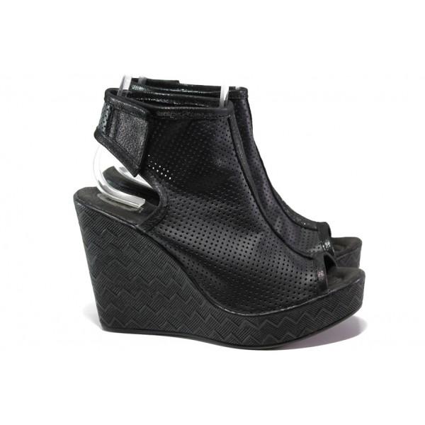 Анатомични летни боти от естествена кожа НЛ 265-96134 черен | Дамски сандали на платформа | MES.BG