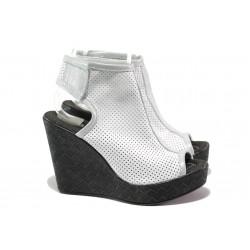 Анатомични летни боти от естествена кожа НЛ 265-96134 бял | Дамски сандали на платформа | MES.BG
