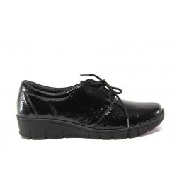Дамски ортопедични обувки от естествена кожа-лак SOFTMODE 391 Simone черен | Равни дамски обувки | MES.BG