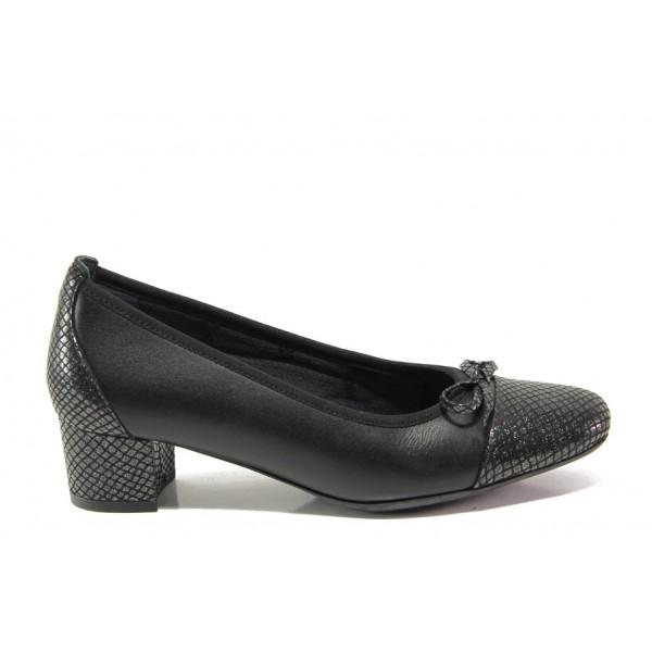 Дамски ортопедични обувки SOFTMODE 5602 Gemma черен кожа | Дамски обувки на среден ток | MES.BG