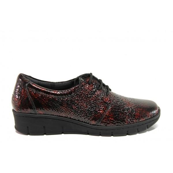 Дамски ортопедични обувки от естествена кожа SOFTMODE 391 Simone бордо | Равни дамски обувки | MES.BG