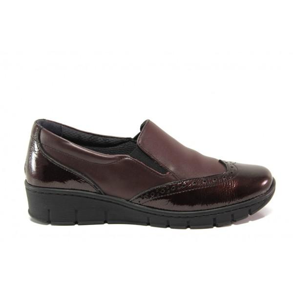 Дамски ортопедични обувки от естествена кожа SOFTMODE 242 Sadie бордо | Равни дамски обувки | MES.BG