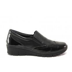 Дамски ортопедични обувки от естествена кожа SOFTMODE 242 Sadie черен | Равни дамски обувки | MES.BG