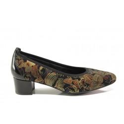 Дамски ортопедични обувки от естествена кожа SOFTMODE 7096 Madison златен | Дамски обувки на среден ток | MES.BG
