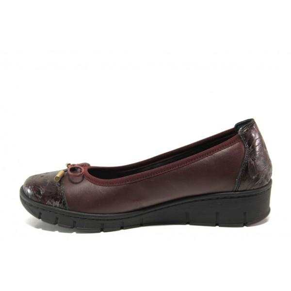Дамски ортопедични обувки от естествена кожа SOFTMODE 243-00 Tina бордо | Равни дамски обувки | MES.BG