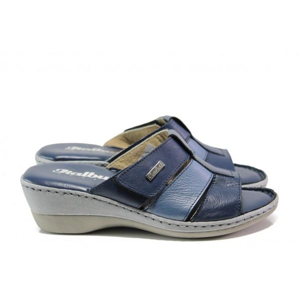 Анатомични български чехли от естествена кожа Jolie 4606-51 т.син   Дамски чехли   MES.BG