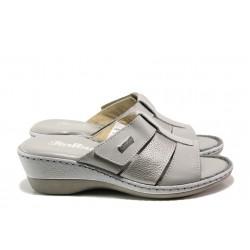Анатомични български чехли от естествена кожа Jolie 4606-51 сив | Дамски чехли | MES.BG
