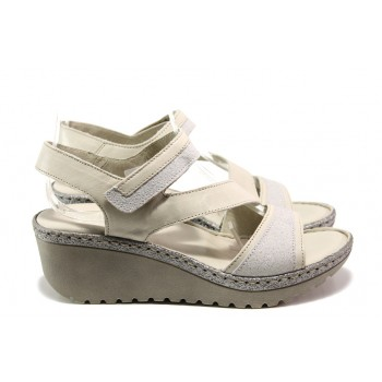 57efc27f36a Анатомични български сандали от естествена кожа Jolie 4566-17 бежов   Дамски  сандали на платформа