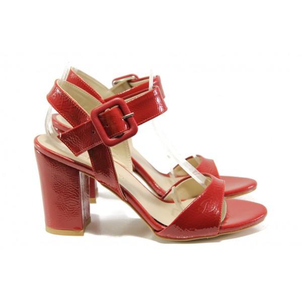 Елегантни лачени дамски сандали ФА 146-226 червен | Дамски сандали на ток | MES.BG