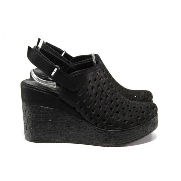 Дамски сандали /тип сабо/ от естествена кожа МИ 310-254 черен | Дамски сандали на платформа | MES.BG
