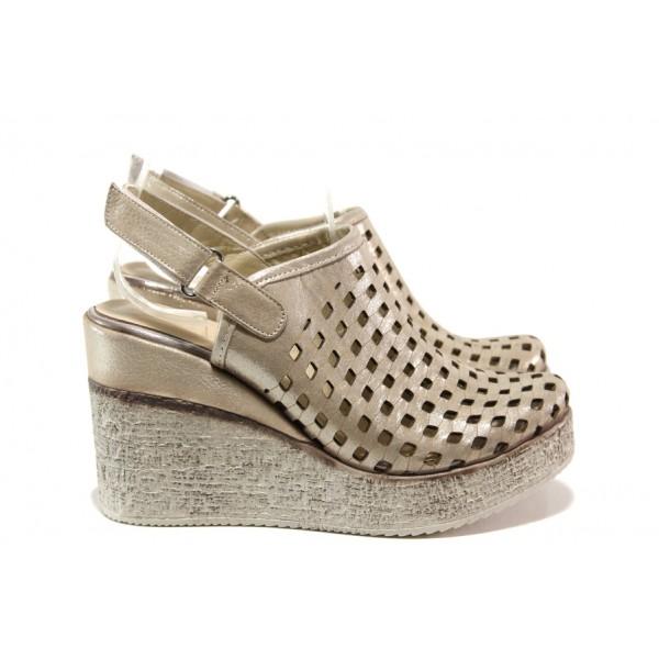 Дамски сандали /тип сабо/ от естествена кожа МИ 310-254 бежов   Дамски сандали на платформа   MES.BG