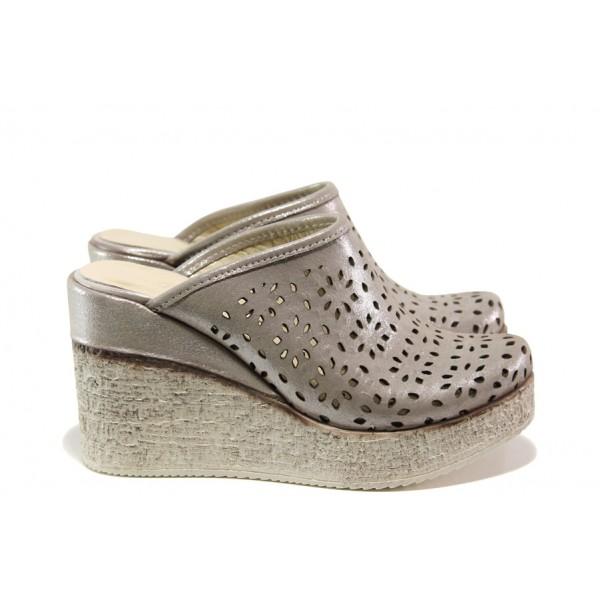 Дамски чехли /тип сабо/ от естествена кожа МИ 473-254 бежов | Дамски чехли и сандали | MES.BG