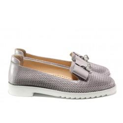 Анатомични дамски обувки от естествена кожа МИ 1017-22 сребро | Равни дамски обувки | MES.BG