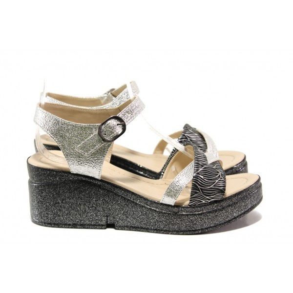 Модерни дамски сандали МИ 102-268-131 сребро   Дамски сандали на платформа   MES.BG