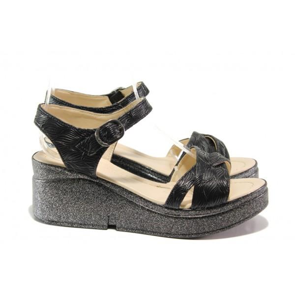 Модерни дамски сандали МИ 102-268-126 черен | Дамски сандали на платформа | MES.BG