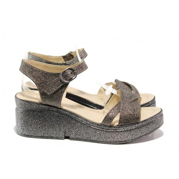 Модерни дамски сандали МИ 102-268-124 бронз | Дамски сандали на платформа | MES.BG