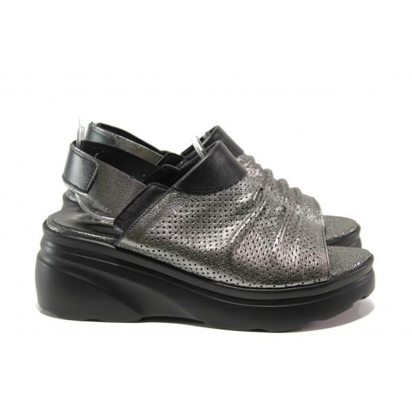 Дамски сандали от естествена кожа МИ 416-58-01 сребро | Дамски сандали на платформа | MES.BG