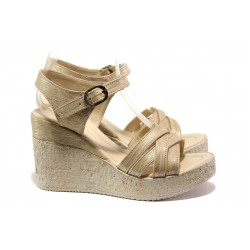 Модерни дамски сандали на платформа МИ 101-254-133 злато | Дамски сандали на ток | MES.BG