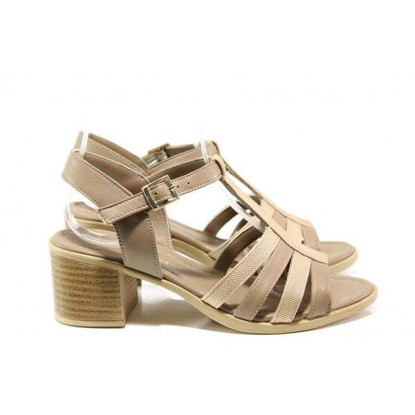 Дамски сандали от естествена кожа МИ 9258-28 бежов | Дамски сандали на ток | MES.BG