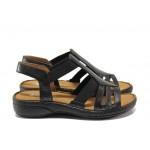 Дамски ортопедични сандали от естествена кожа SOFTMODE 28116 черен | Равни дамски сандали | MES.BG