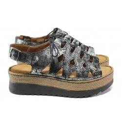 Дамски ортопедични сандали от естествена кожа SOFTMODE ATHENA черен-сребро | Дамски сандали на платформа | MES.BG
