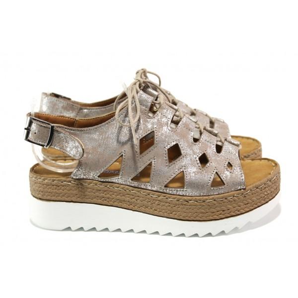 Дамски ортопедични сандали от естествена кожа SOFTMODE ATHENA таупе-сребро | Дамски сандали на платформа | MES.BG