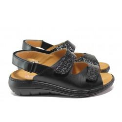 Дамски ортопедични сандали от естествена кожа SOFTMODE 2164 черен | Равни дамски сандали | MES.BG