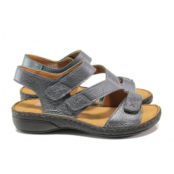 Дамски ортопедични сандали от естествена кожа SOFTMODE Hazel антрацит | Равни дамски сандали | MES.BG