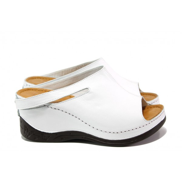 Анатомични дамски чехли /тип сабо/ от естествена кожа МИ 129-2 бял | Дамски чехли на платформа | MES.BG