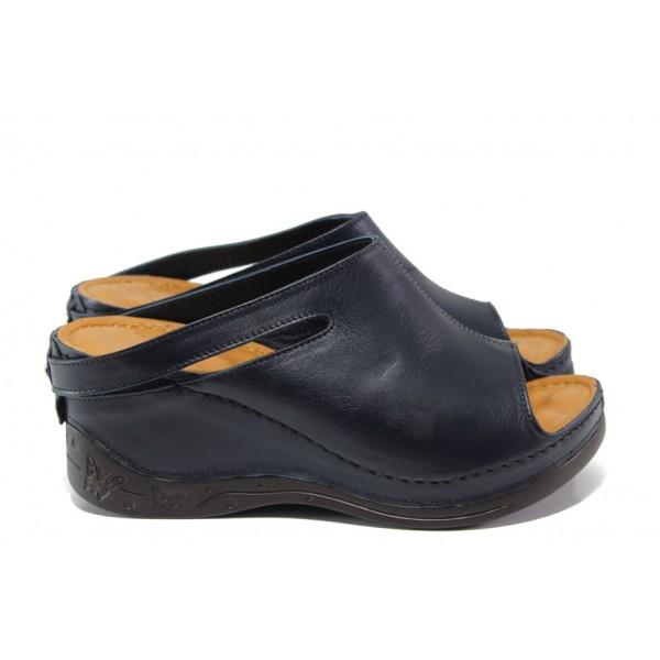 Анатомични дамски чехли /тип сабо/ от естествена кожа МИ 129-7 син | Дамски чехли на платформа | MES.BG