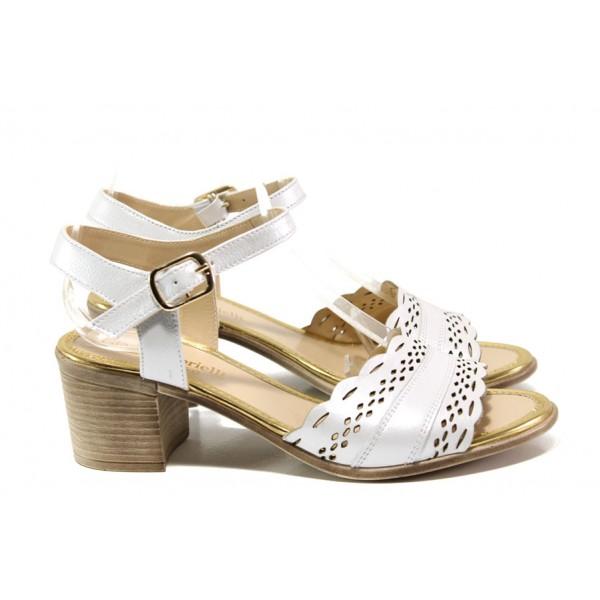 Дамски сандали от естествена кожа МИ 413-140 бял | Дамски сандали на ток | MES.BG