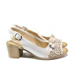 Дамски сандали от естествена кожа МИ 440-144 бежов | Дамски сандали на ток | MES.BG