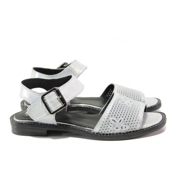 Дамски сандали от естествена кожа МИ 770-52 сребро | Равни дамски сандали | MES.BG